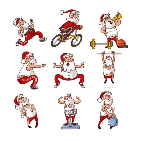 Set of fat Santa Claus in different actions. Old man engage sports. Healthy lifestyle. Physical activity. Funny cartoon character with beard. Colorful vector illustrations isolated on white background Ilustracja