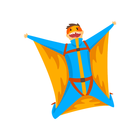 Man wearing wingsuit flying in the sky, skydiving, parachuting extreme sport vector Illustration isolated on a white background.