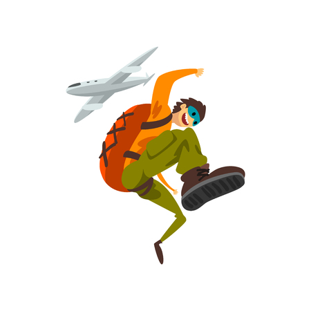 Paraschutist jumping out of an airplane, skydiving, parachuting extreme sport vector Illustration isolated on a white background. Illustration