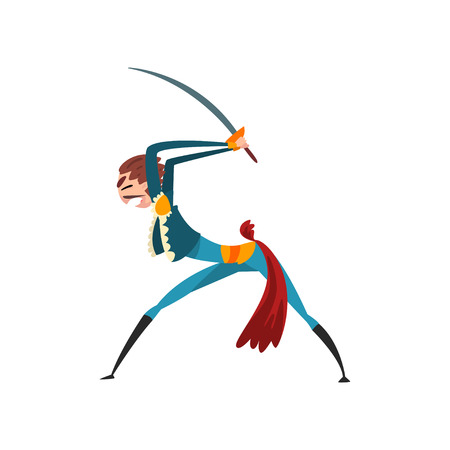 Bullfighter fighting with sword, bullfighting, corrida performance vector Illustration isolated on a white background.
