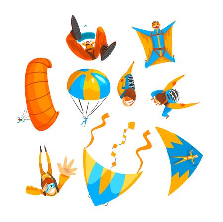 Parachutistes volant avec parachutes et deltaplanes ensemble, sport de parachutisme extrême, vecteur de parachutisme Illustration isolé sur fond blanc. Vecteurs