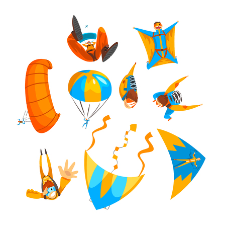 Skydivers flying with parachutes and hang gliders set, extreme parachuting sport, skydiving vector Illustration isolated on a white background.