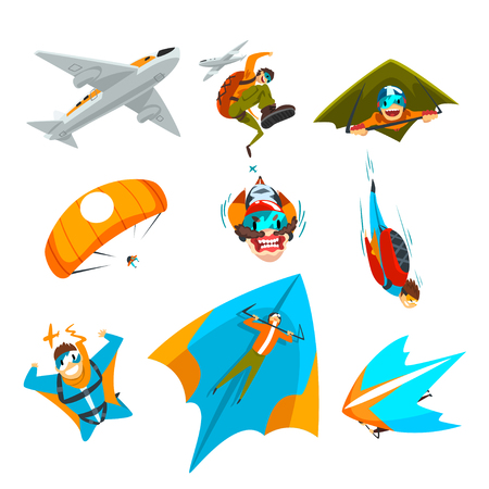 Skydivers flying with parachutes, wingsuits, hang gliders set, extreme parachuting sport, skydiving vector Illustration isolated on a white background.