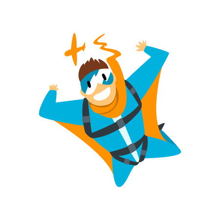 Man in wingsuit, skydiving, parachuting extreme sport vector Illustration isolated on a white background.