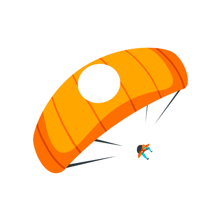 Paracaidista volando con paracaídas en el cielo, paracaidismo, paracaidismo deporte extremo vector ilustración aislada sobre fondo blanco. Ilustración de vector