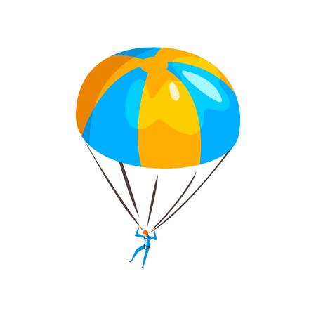 Paracaidista descendiendo con un paracaídas en el cielo, vector de deporte de paracaidismo extremo ilustración aislada sobre fondo blanco.