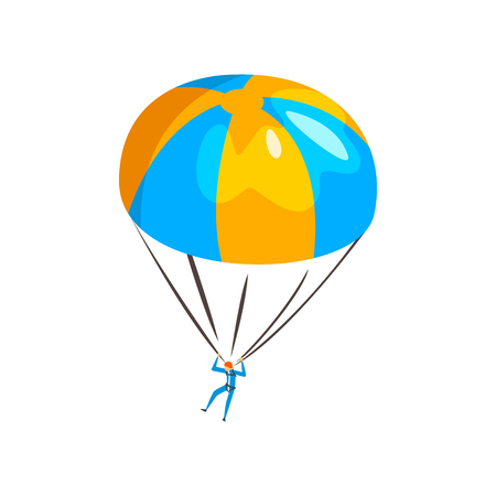 Skydiver descending with a parachute in the sky, extreme parachuting sport vector Illustration isolated on a white background.