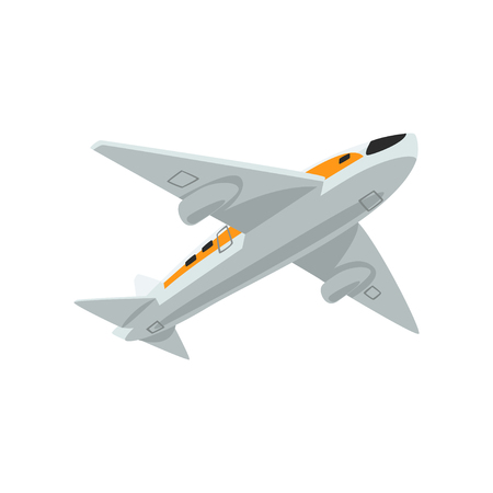 Airplane, flying aircraft vector Illustration isolated on a white background. Vektorové ilustrace