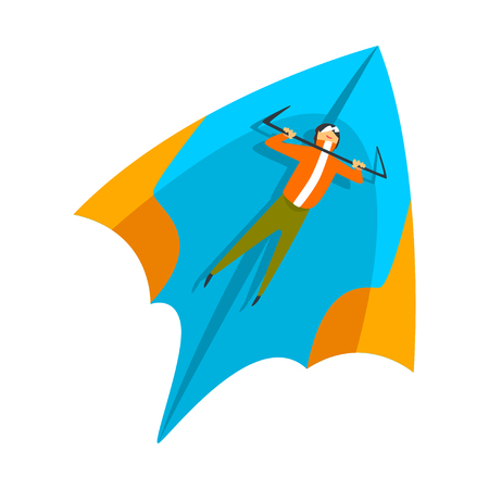 Skydiver flying on a hang glider, skydiving, parachuting extreme sport vector Illustration isolated on a white background. Illustration
