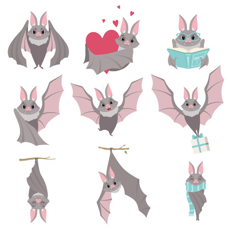 Collection of funny gray bats, cute creature cartoon characters in different situations vector Illustration isolated on a white background.