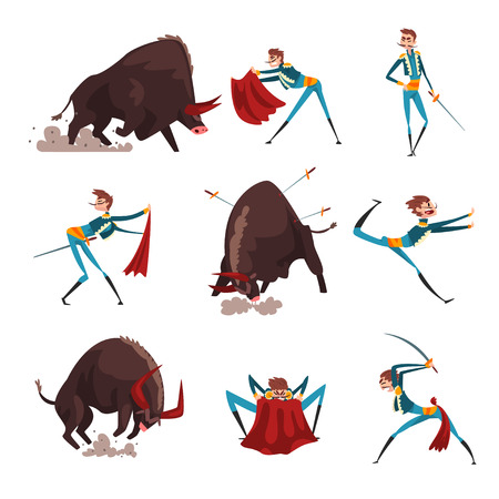 Toreador with red cape and sword fighting with furious black bull set, bullfighting, corrida performance vector Illustration isolated on a white background. Ilustrace