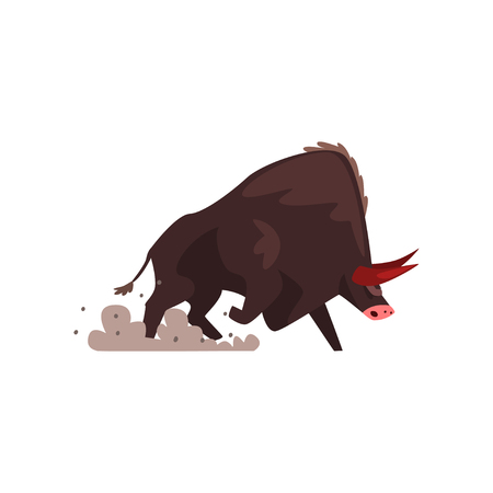 Furious black bull, bullfighting, corrida performance vector Illustration isolated on a white background.