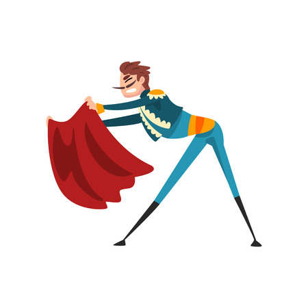 Toreador with red cape, bullfighting, corrida performance vector Illustration isolated on a white background.