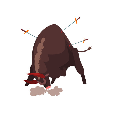 Furious black bull pierced by swords, bullfighting, corrida performance vector Illustration isolated on a white background.