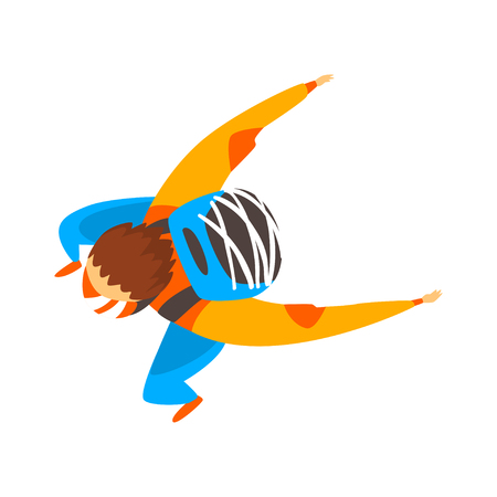 Skydiver man is in the free fall, skydiving, parachuting extreme sport vector Illustration isolated on a white background.