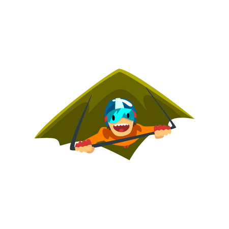 Man in wingsuit flying, skydiving, parachuting extreme sport vector Illustration isolated on a white background.