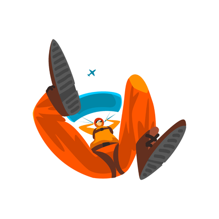 Skydiver flying with parachute, bottom view, skydiving, parachuting extreme sport vector Illustration isolated on a white background.
