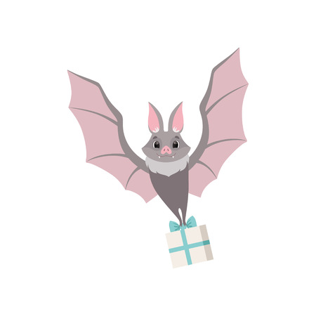 Cute bat flying with gift box, gray funny creature cartoon character vector Illustration isolated on a white background. 일러스트