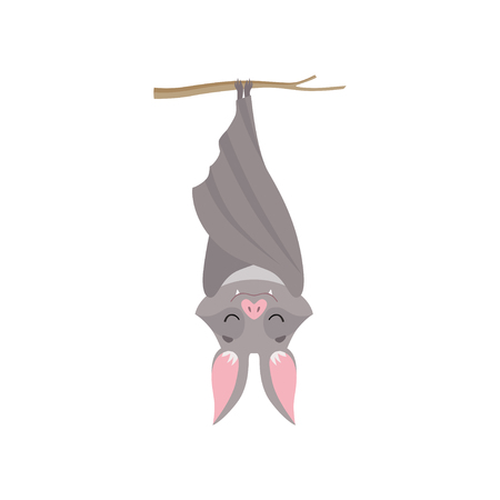 Funny bat hanging upside down on tree branch wrapped in its wings, gray creature monster cartoon character vector Illustration isolated on a white background. Çizim
