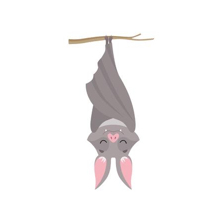 Zabawny nietoperz wiszący do góry nogami na gałęzi drzewa owinięty w skrzydła, szary stwór potwór charakter kreskówka wektor ilustracja na białym tle.