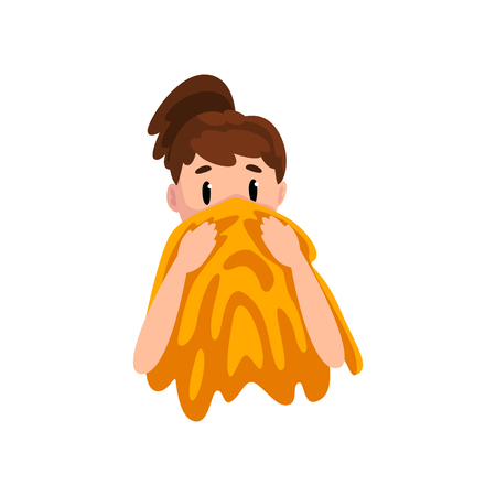 Girl wiping her face with a towel, young woman caring for her skin, female face with skin problems vector Illustration isolated on a white background. 向量圖像