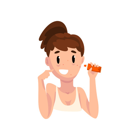 Girl applying acne cream, female face with skin problems, dermatology and cosmetology concept vector Illustration isolated on a white background.