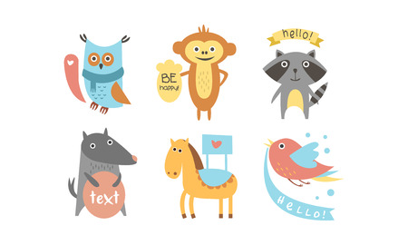 Cute animals with banners set, owl, raccoon, monkey, wolf, horse, bird holding signboards with text, design elelment for greeting card, print, poster, banner vector Illustration isolated on a white background. Illustration