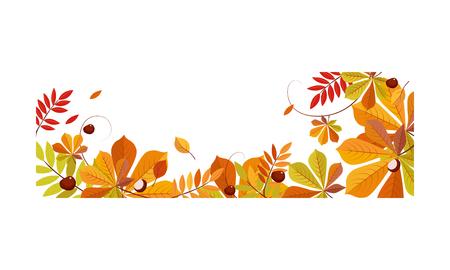 Otoño fondo abstracto con espacio para texto, banner con hojas de otoño brillantes plantilla de ilustración vectorial.