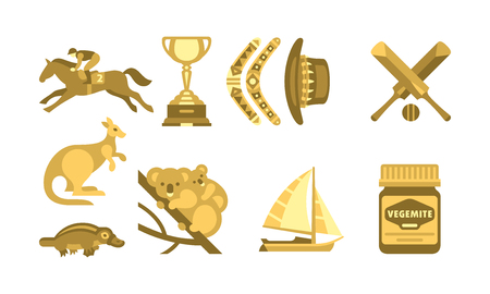 Australia traveling icons set, Australian traditional symbols vector Illustration isolated on a white background. Illustration