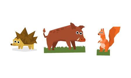 Collection of cute geometric animals, hedgehog, boar, squirrel vector Illustration