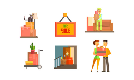 Real estate icons set, house for sale, people moving to a new home vector Illustration isolated on a white background.