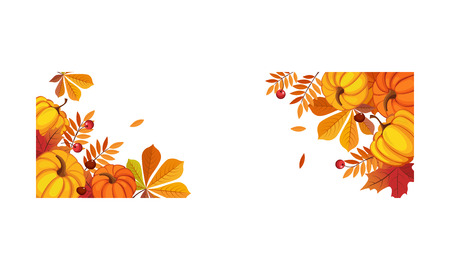 Thanksgiving banner with space for text, bright autumn leaves and pumpkins vector Illustration on a white background. Illustration