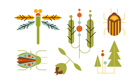 Collection of insects and trees, nature and ecology design elements vector Illustration