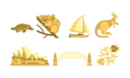 Australia traveling icons set, Australian traditional and cultural symbols vector Illustration