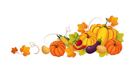 Thanksgiving banner with autumn vegetables and colorful leaves, border frame with space for text vector Illustration on a white background. Illustration