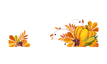 Thanksgiving banner with autumn colorful leaves and pumpkin, border frame with space for text vector Illustration on a white background.