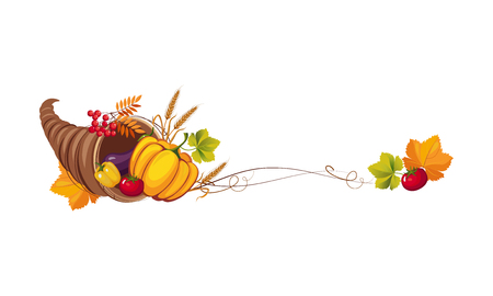 Thanksgiving banner with cornucopia and space for text, autumn vegetables and leaves vector Illustration on a white background.