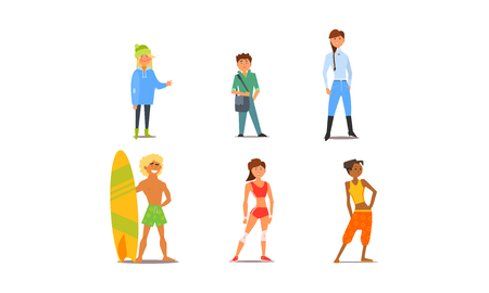 Different people, young and adult men and women characters of different appearance and hobbies vector Illustration isolated on a white background.