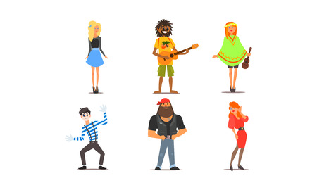 Different people, young and adult men and women characters of different nationalities, appearance and hobbies vector Illustration isolated on a white background.
