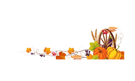 Thanksgiving banner with cornucopia and space for text, autumn vegetables, leaves and wooden wheel vector Illustration on a white background.