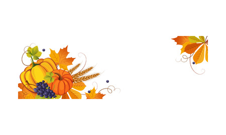 Thanksgiving banner with space for text, autumn vegetables, fruits and leaves vector Illustration on a white background. Vektorové ilustrace