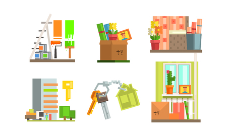 Real estate icons set, people moving to a new home, making repairs in the apartment vector Illustration isolated on a white background. Иллюстрация