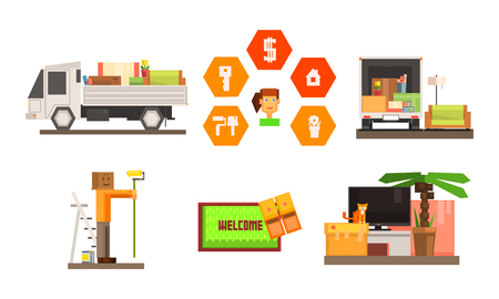 Real estate icons set, people moving to a new home, truck transporting furniture and personal belongings vector Illustration isolated on a white background.