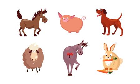 Cute cartoon farm animals set, horse, sheep, donkey, rabbit, dog, pig vector Illustration isolated on a white background.