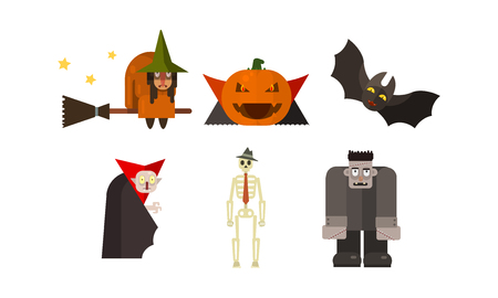 Halloween icons set, witch, pumpkin, vampire, bat, scary, skeleton, zombie, design elements for a holiday vector Illustration isolated on a white background.