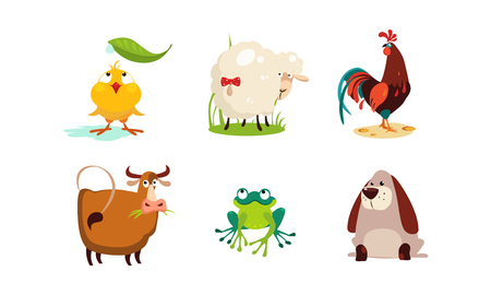 Cute cartoon animals set, chicken, sheep, cock, cow, frog, dog vector Illustration isolated on a white background.