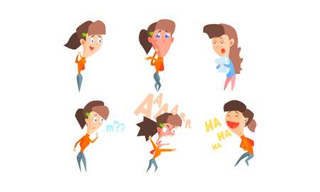 Girl showing different emotions set, girl with different facial expressions and poses vector Illustration isolated on a white background. Çizim