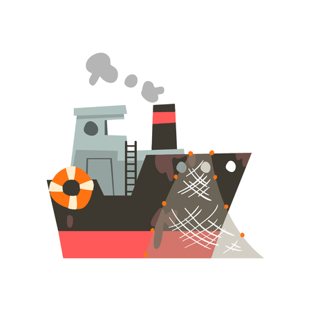Fishing vessel with net, industrial trawler for seafood production, retro marine steamer vector Illustration isolated on a white background. Stock Illustratie
