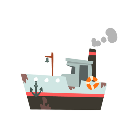 Fishing ship, vessel for industrial seafood production, retro marine ship vector Illustration isolated on a white background. 写真素材 - 126540478