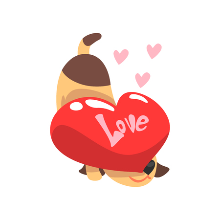 Funny Jack Russell Terrier dog with red heart, cute Valentine animal character vector Illustration isolated on a white background. Illustration